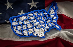 USA shaped pill box