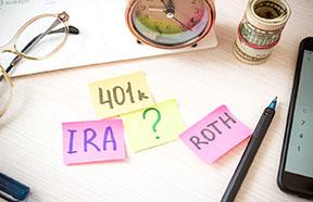 IRA, ROTH, 401(k) sticky notes