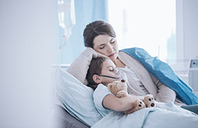 mom caring for sick child