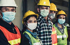 workers in face masks